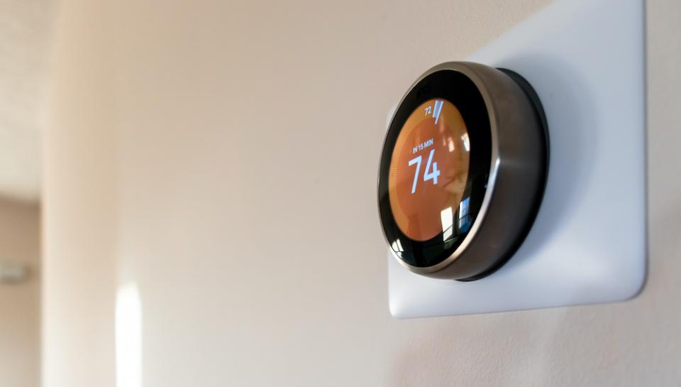 smart thermostat on wall