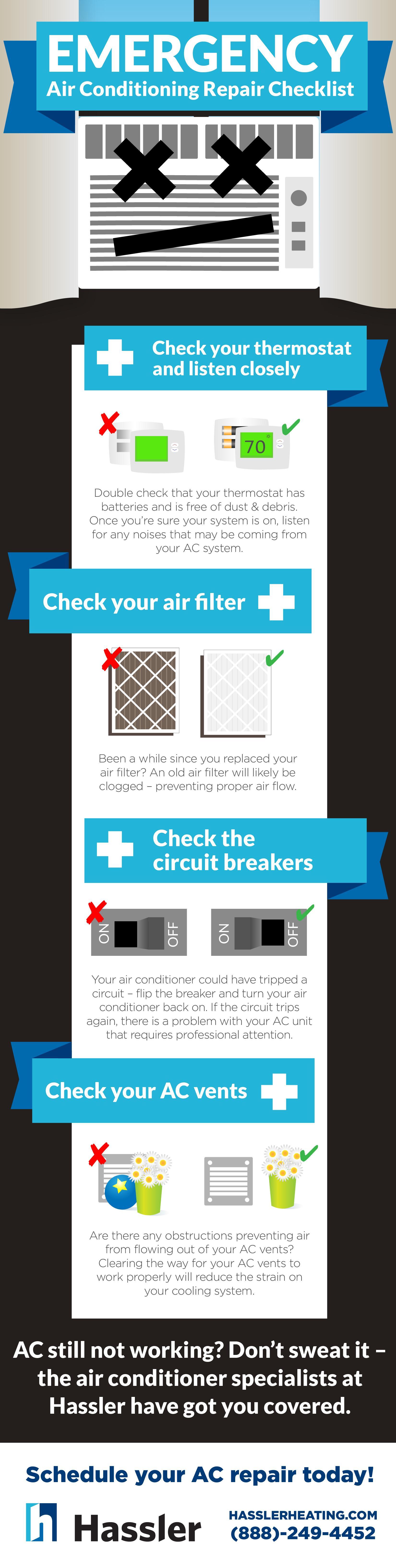 emergency ac repair kit checklist infographic hassler